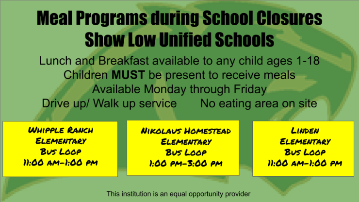 Meal Programs during School Closures Show Low Unified Schools 3-23